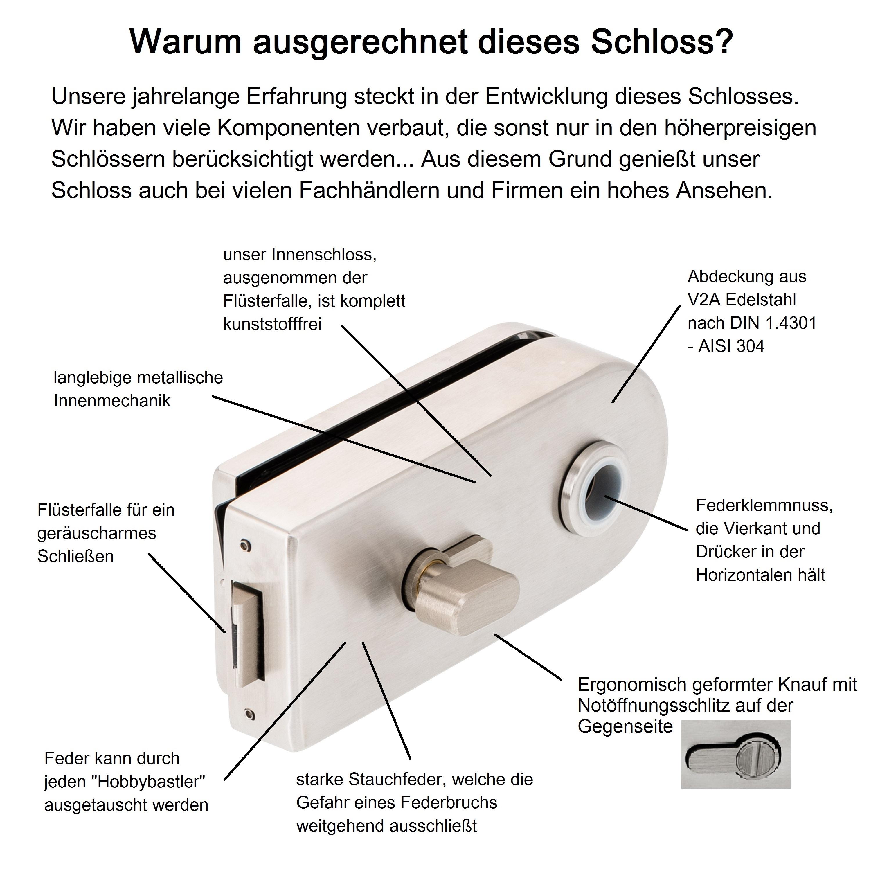 Türbeschläge24 glastürbeschlag set d wc edelstahl studio ohne bänder glastürschloss